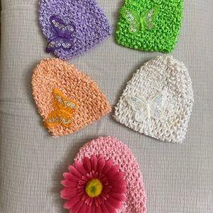 Lot of 5 Knit Butterfly Flower Hats Newborn
